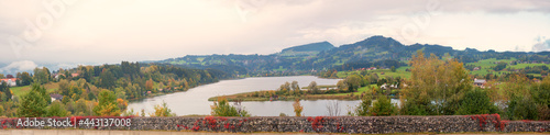 Fototapeta view from the motorway lay-by to lake niedersonthofen, allgau landscape