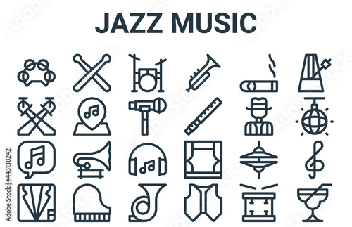 Canvastavla linear pack of jazz music line icons