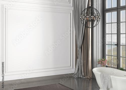 Foto 3D rendering of bathroom interior without furniture. 3D Rendering