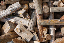 Wall Firewood , Background Of Dry Chopped Firewood Logs In A Pile. Firewood Texture. Stack Of Dry Chopped Wooden Logs. Natural Wooden Background With Timber. Log Wall. High Quality Photo