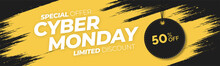 Cyber Monday Special Offer Banner With Yellow Splash Background