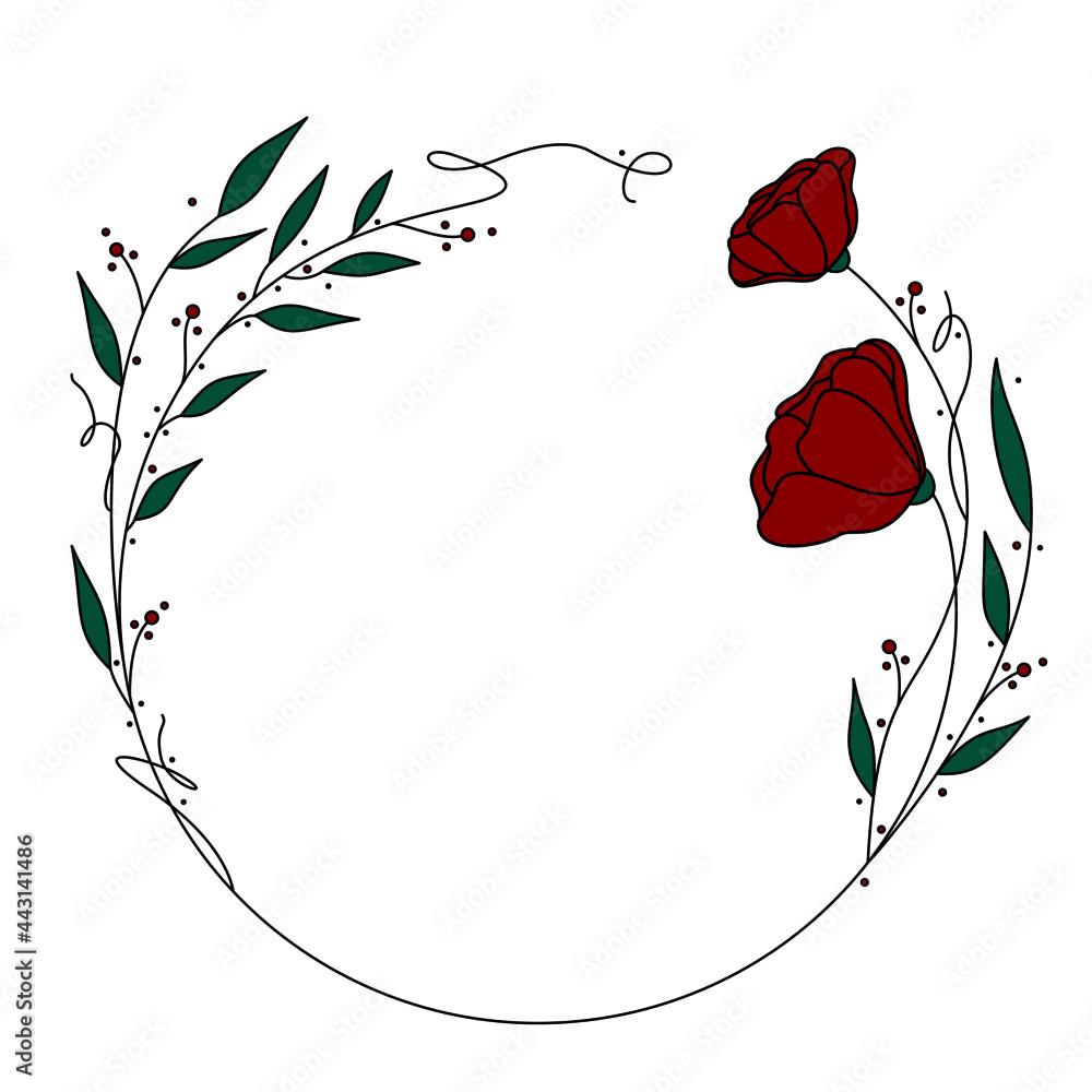 Obraz Piękny wianek na białym tle. Okrągła kwiatowa ramka - listki i kwiaty z dodatkiem zieleni i czerwieni z akcentami w postaci kropek. Romantyczny, kobiecy wzór ślubny, na zaproszenia, voucher, kartki. fototapeta, plakat