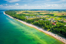 Crowded Beach In Baltic Sea. Tourism By Baltic Sea, Poland.