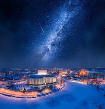 Milky Way Over Opera In Bydgoszcz At Winter, Poland.