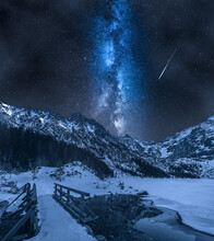 Mountain Lake In Winter With Stars At Night, Poland.