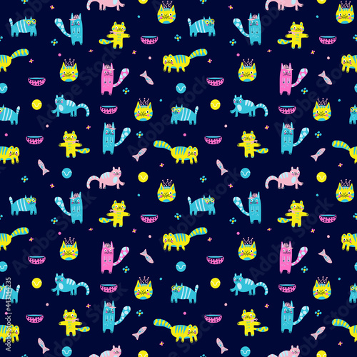Obraz na plátně Adorable animal illustration seamless pattern for kids project, fabric, scrapbooking, crafting, invitation and many more