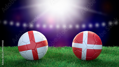 Fotografie, Tablou Two soccer balls in flags colors on stadium blurred background