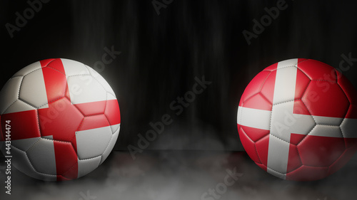 Fotografie, Tablou Two soccer balls in flags colors on a black abstract background
