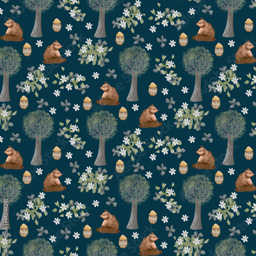 Adorable animals  illustration seamless pattern for kids project, fabric, scrapbooking, crafting, invitation and many more.