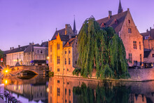 Sunset Over The Canal Of Bruges, Belgium