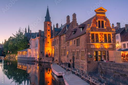 Obraz na plátne Sunset over the canal of Bruges, Belgium