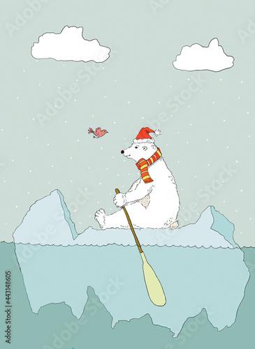 Wallpaper Mural Children's illustration of a polar bear adrift on a chunk of sea ice
