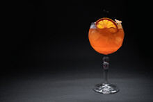 Fresh Orange Aperol Spritz Mango Cocktail With Ice In Glass On Black Background
