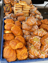 Fresh Flakey French Pastries On Display At The Farmers Market