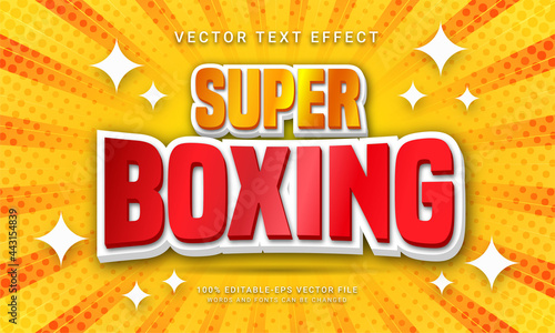 Foto Super boxing editable text effect with world boxing competition theme