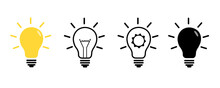 Light Bulb Icon. Line, Solid And Filled Outline Colorful Version, Outline And Filled Vector Sign. Idea Symbol, Logo Illustration. Different Style Icons Set.