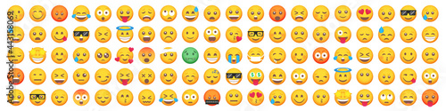 Fototapeta Big set of 100 emoticon smile icons