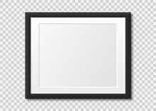 Realistic Black Blank Picture Frame With Shadow. Photo Frame Mock Up On A Transparent Background