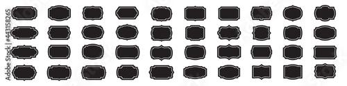 Set of blank vintage labels frames in black Fototapet
