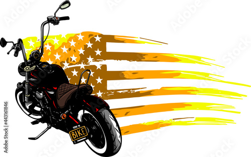 Foto chopper motorcycle with american flag vector illustration