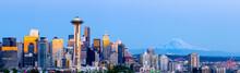 Seattle City Skyline With Mt Rainier