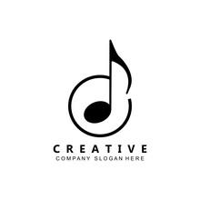 Simple Music Rhythm Note Logo Vector Symbol