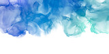 Abstract blue painting by watercolor and alcohol ink texture isolated on white background.