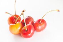 Rainier Cherries In White Background