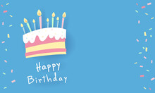 A Sweet Colored Birthday Cake Painting With Candles Embroidered On Top. The Blue Background Has Space For Inserting Text. Vector Image