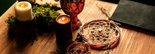 Candles And Dream Catcher On The Table. Magic Table. Strange Things For Rituals.