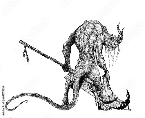 Fotografie, Obraz a horned demon stands half-turned with a sack and a huge rusty swor