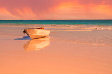 A Tin Cray Fishing Boat  On Shore  At Sunset  In Perth Western Australia