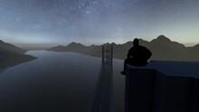 Man At Top Of Bridge