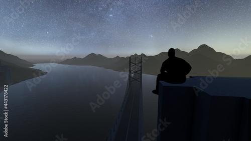 Fotografering man at top of bridge