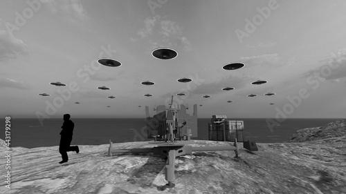 Fotografering ufo invasion at beach