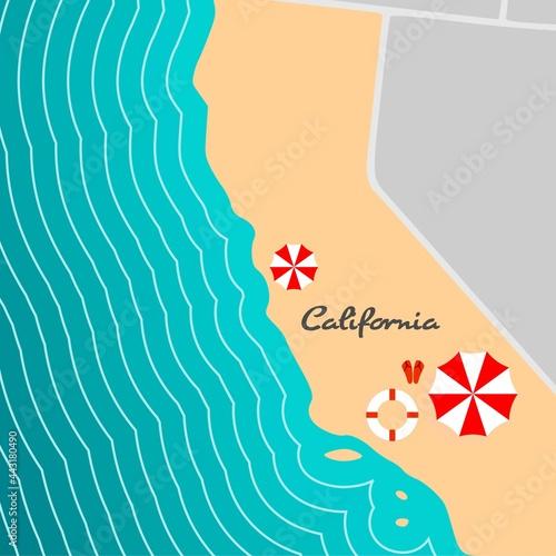 Map of California state with beach umbrella. Fototapeta