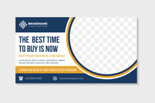 Abstract Flyer Template Design Use A Headline Is The Best Time To Buy Car. Horizontal Layout With Space For Photo Collage On Half Circle Shape. White Background With Blue Orange Colors On Elements