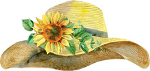 Watercolor Women's Yellow Summer Hat With Sunflower