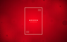 Red Gradient Minimal Vector Background With Dotted And Circle Shape. Abstract Halftone Textured Backdrop For Banners, Presentations, Business Templates