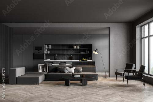 Living room, dark grey kitchen with lining Tapéta, Fotótapéta