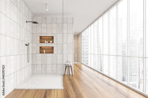 Panoramic shower room with grey beige tiling Fotobehang