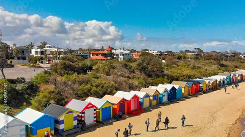 Obraz na plátně BRIGHTON BEACH, AUSTRALIA - SEPTEMBER 2018: Aerial view of Brighton Beach Colour