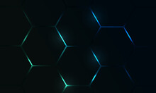 Dark Hexagon Gaming Abstract Vector Background With Blue And Green Colored Bright Flashes. Vector Illustration.