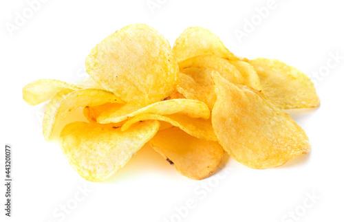 Fototapeta heap of potato chips isolated on white background