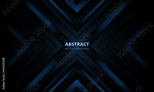 Fotografie, Obraz 3D modern dark blue futuristic abstract background with arrows and angles