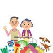 スーパーで食材を購入する老夫婦