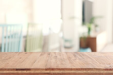 Empty Table Board And Defocused Indoor Background. Product Display Concept