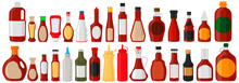 Illustration On Theme Big Kit Varied Glass Bottles Filled Liquid Sauce Fish