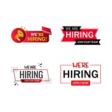 Job Vacancy Concept With We Are Hiring Text Design. Red And White Color Job Vacancy Social Media Post Design. We Are Hiring A Banner Design With A Red Shade.