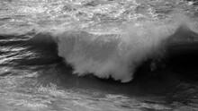 Beautiful Dark Dramatic Toned Fine Art Seascape Image Of Breaking Waves On Atlantic Ocean In Devon England